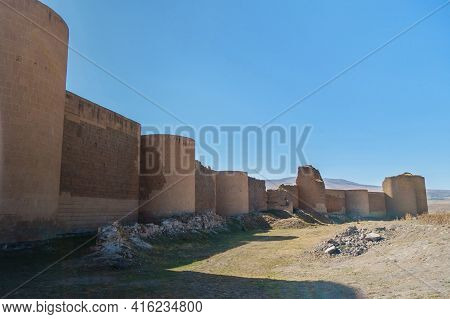 Panoramic View Onto Massive Fortification Wall & Towers Of Medieval City Ani, Near Kars, Turkey. Som