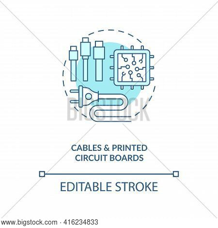 Cables And Printed Circuit Boards Concept Icon. E-waste Component Idea Thin Line Illustration. Metal
