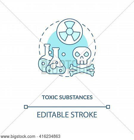 Toxic Substances Concept Icon. E-waste Component Idea Thin Line Illustration. Chemical Contamination