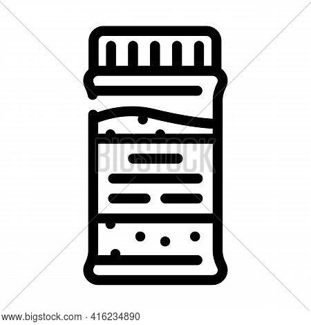 Granulated Tea Bottle Line Icon Vector. Granulated Tea Bottle Sign. Isolated Contour Symbol Black Il