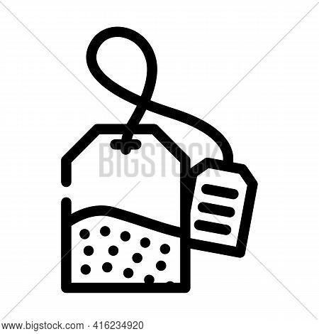 Bag Of Tea Line Icon Vector. Bag Of Tea Sign. Isolated Contour Symbol Black Illustration