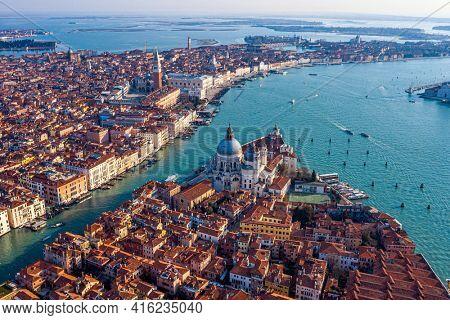 View of the Grand Canal, Basilica Santa Maria della Salute and San Marco Square, Venice, Italy