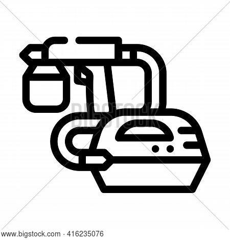 Spray Gun Tool Line Icon Vector. Spray Gun Tool Sign. Isolated Contour Symbol Black Illustration