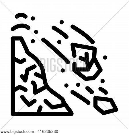 Volcanic Bomb Line Icon Vector. Volcanic Bomb Sign. Isolated Contour Symbol Black Illustration