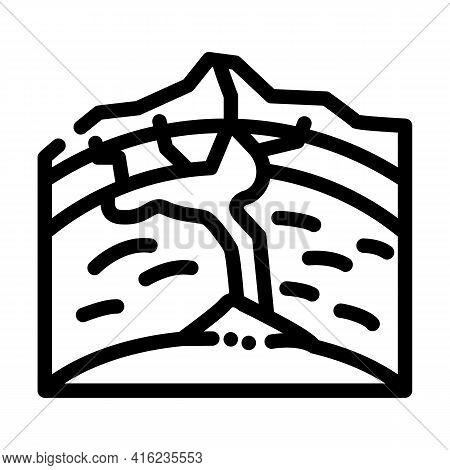 Volcano Formation Process Line Icon Vector. Volcano Formation Process Sign. Isolated Contour Symbol
