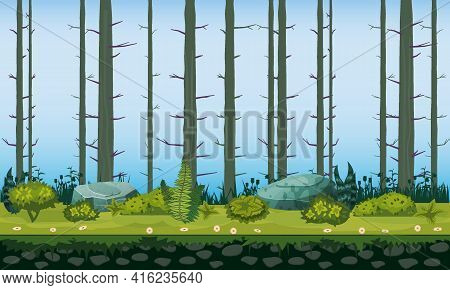 Forest Landscape Tree Trunks Horizontal Seamless Background For Games Apps, Design. Nature Woods, Tr