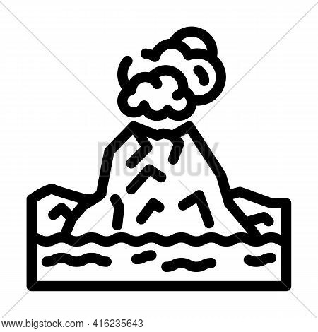 Island With Volcano Line Icon Vector. Island With Volcano Sign. Isolated Contour Symbol Black Illust