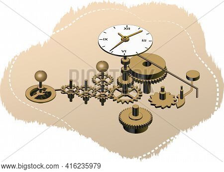 Elements Of The Clockwork In Isometric Vector Illustration