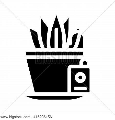 Plant Watering Sensor Glyph Icon Vector. Plant Watering Sensor Sign. Isolated Contour Symbol Black I