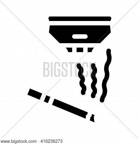 Smoking Sensor Glyph Icon Vector. Smoking Sensor Sign. Isolated Contour Symbol Black Illustration