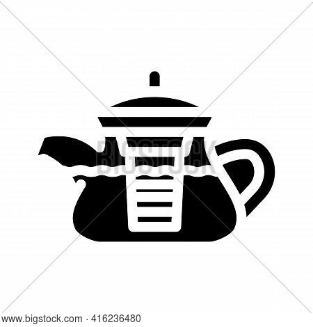Teapot For Boiling Tea Glyph Icon Vector. Teapot For Boiling Tea Sign. Isolated Contour Symbol Black