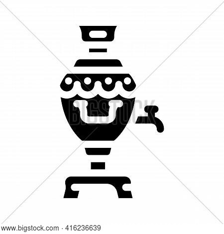 Samovar Tool For Boiling Water Glyph Icon Vector. Samovar Tool For Boiling Water Sign. Isolated Cont
