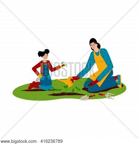 Mum And Daughter Are Working In The Garden. Girl Is Planting Seedlings, Young Woman Is Watering Plan