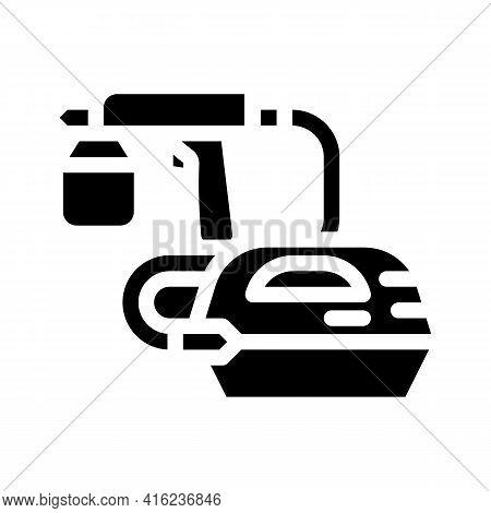 Spray Gun Tool Glyph Icon Vector. Spray Gun Tool Sign. Isolated Contour Symbol Black Illustration