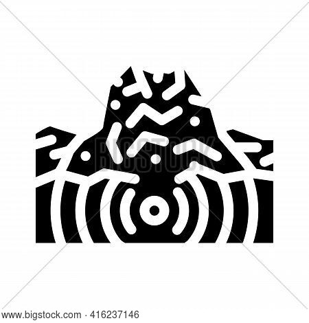 Earthquake Volcano Glyph Icon Vector. Earthquake Volcano Sign. Isolated Contour Symbol Black Illustr