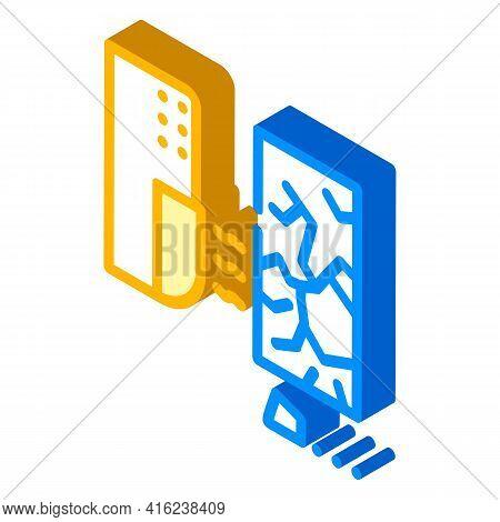 Glass Break Sensor Isometric Icon Vector. Glass Break Sensor Sign. Isolated Symbol Illustration