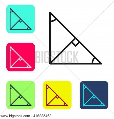 Black Line Angle Bisector Of A Triangle Icon Isolated On White Background. Set Icons In Color Square