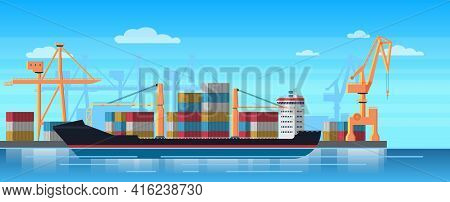 Logistics Truck And Transportation Container Ship. Cargo Harbor Port With Industrial Cranes. Shippin