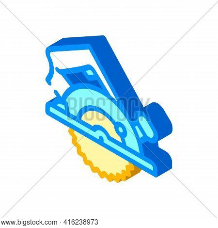 Circular Saw Isometric Icon Vector. Circular Saw Sign. Isolated Symbol Illustration