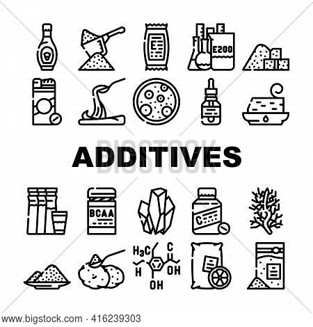 Food Additives Formula Collection Icons Set Vector. Corn Syrup And Sugar Substitute, Chemical Invent