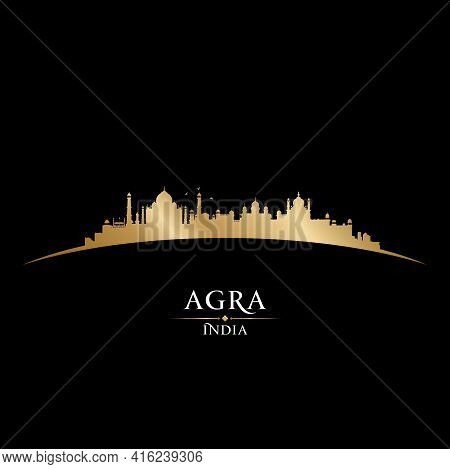 Agra India City Silhouette Black Background