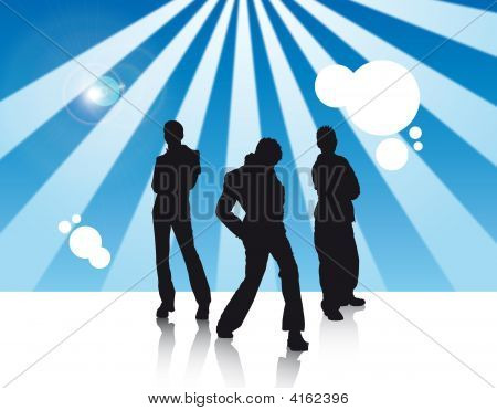 Two Boys And One Girl In Disco