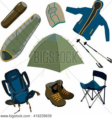 Vector Object Set Of Outdoor Equipment, Camping, Hiking Items: Sleeping Bag, Tent, Backpack, Tourist