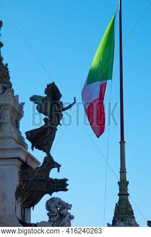 View Of Altare Della Patria Flag Monument, Rome, Italy