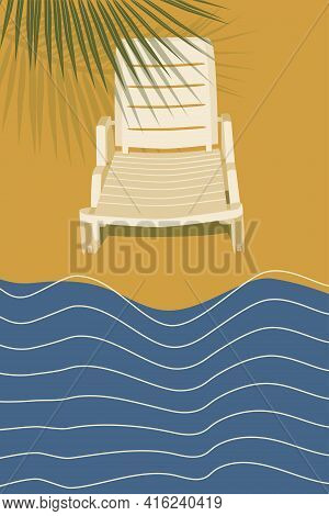Sun Lounger On The Beach, Abstract Background Seascape, Waves, Sun, Palm, Sand, Vacation For Banner,