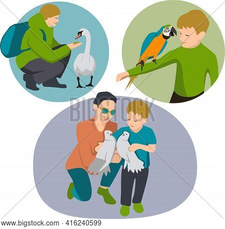 Vector Illustration Set Of Happy People Adult And Children With Different Birds, Man Father Feed Goo