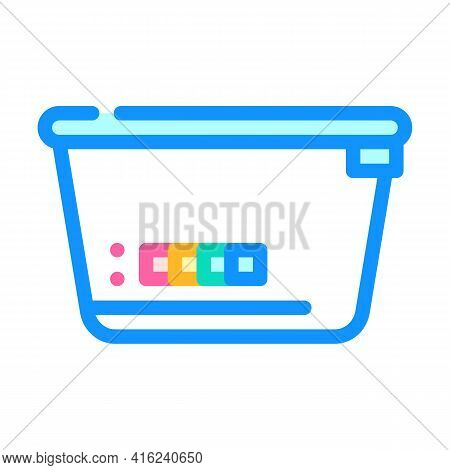Lunchbox With Color Thermometer Color Icon Vector. Lunchbox With Color Thermometer Sign. Isolated Sy