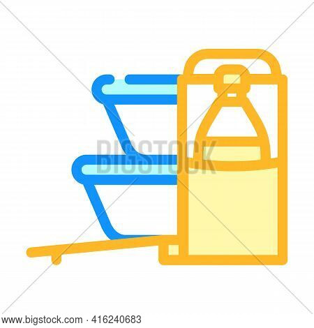 Carrying Bag Lunchbox Color Icon Vector. Carrying Bag Lunchbox Sign. Isolated Symbol Illustration