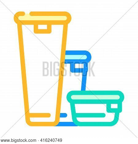 Various Height Of Lunchbox Color Icon Vector. Various Height Of Lunchbox Sign. Isolated Symbol Illus