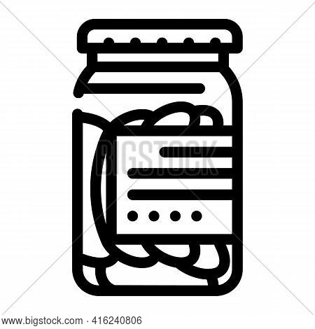 Salted Cucumbers Canned Food Line Icon Vector. Salted Cucumbers Canned Food Sign. Isolated Contour S