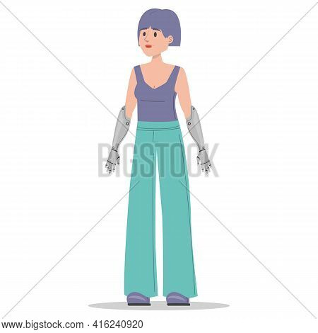 Woman With Prosthetic Bionic Arms Vector Isolated