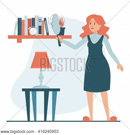 Woman Wiping Dust From The Shelf Vector Isolated.