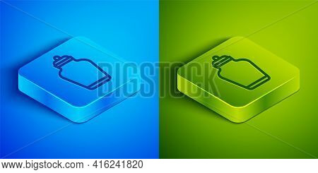Isometric Line Funeral Urn Icon Isolated On Blue And Green Background. Cremation And Burial Containe