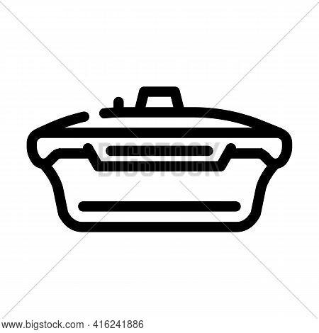 Vacuum Lunchbox Line Icon Vector. Vacuum Lunchbox Sign. Isolated Contour Symbol Black Illustration