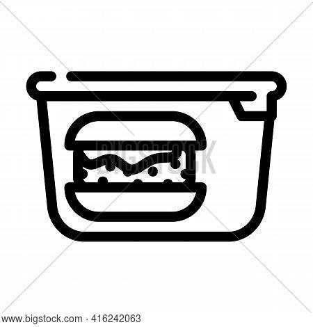 Hamburger Lunchbox Line Icon Vector. Hamburger Lunchbox Sign. Isolated Contour Symbol Black Illustra