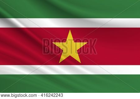 Flag Of Suriname. Fabric Texture Of The Flag Of Suriname.