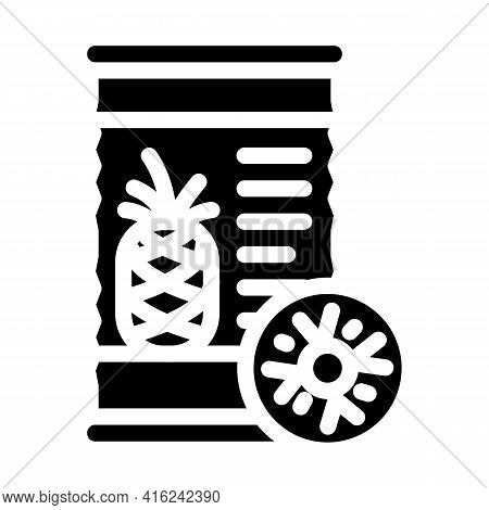 Pineapple Canned Food Glyph Icon Vector. Pineapple Canned Food Sign. Isolated Contour Symbol Black I