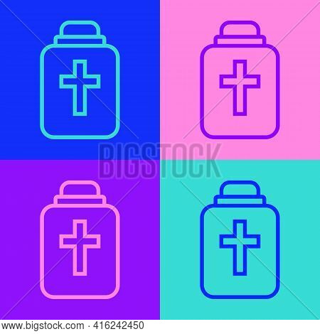 Pop Art Line Funeral Urn Icon Isolated On Color Background. Cremation And Burial Containers, Columba