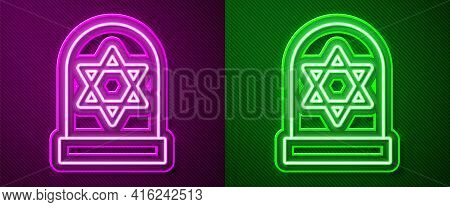 Glowing Neon Line Tombstone With Star Of David Icon Isolated On Purple And Green Background. Jewish