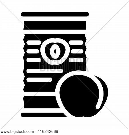 Peaches Canned Food Glyph Icon Vector. Peaches Canned Food Sign. Isolated Contour Symbol Black Illus