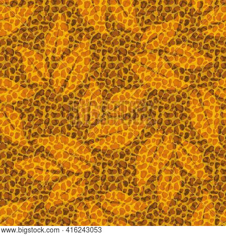 Faux Leather Texture Vector Seamless Pattern Background. Backdrop With Monochrome Ochre Blended Tran