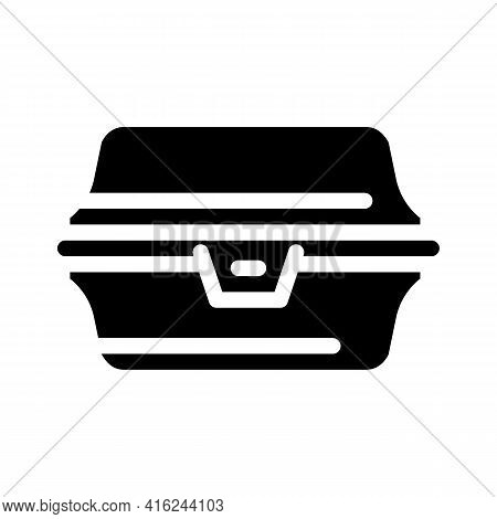 Paper Lunchbox Glyph Icon Vector. Paper Lunchbox Sign. Isolated Contour Symbol Black Illustration