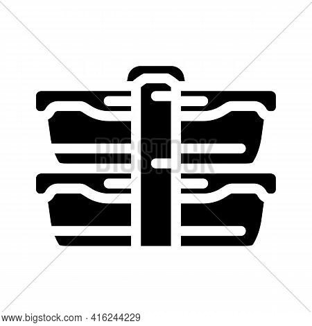 Double Lunchbox Glyph Icon Vector. Double Lunchbox Sign. Isolated Contour Symbol Black Illustration