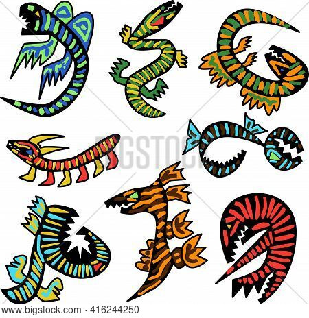 Set Of Serpentine Monsters For The Design Of A Kids Room, Bed Linen, T-shirts, Caps, Backpacks, Acce