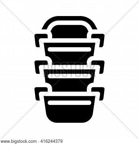 Multi-tiered Lunchbox Glyph Icon Vector. Multi-tiered Lunchbox Sign. Isolated Contour Symbol Black I