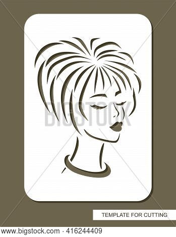 Stencil With The Face Of A Beautiful Girl. Head Of A Woman With Short Straight Hair, Closed Eyes, Lo